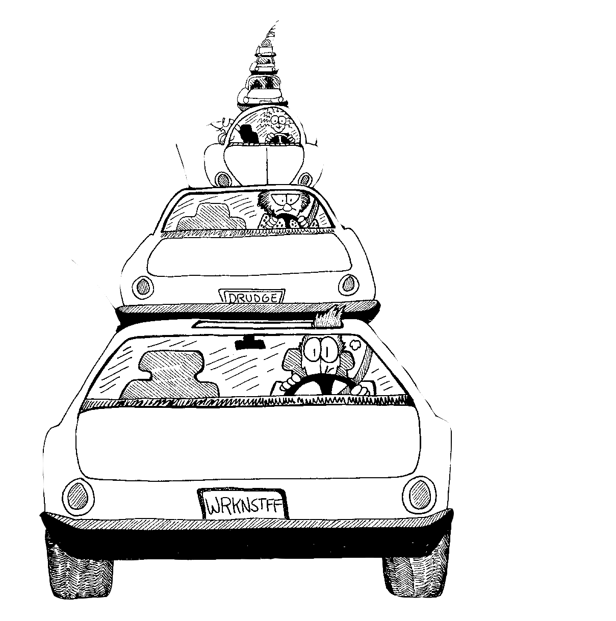 cartoon of commuting